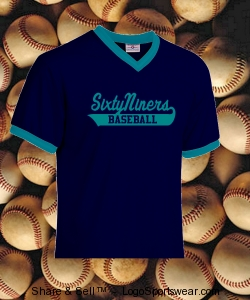 Adult V-Neck Custom Baseball Shirt Design Zoom